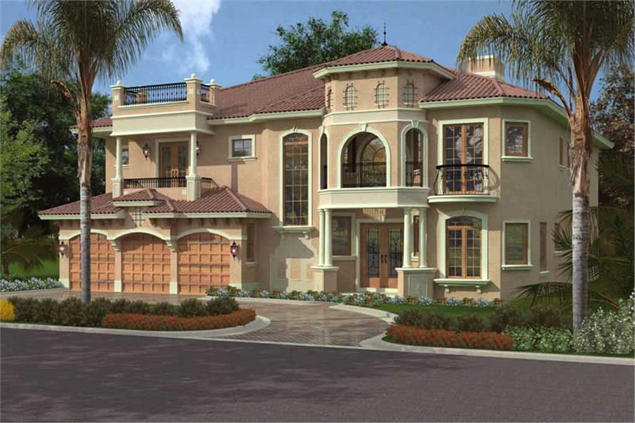 107 1093 This image shows the front elevation of these Mediterranean House Plans Luxury HomePlans Home with 5 Bdrms 5536 Sq Ft Floor Plan