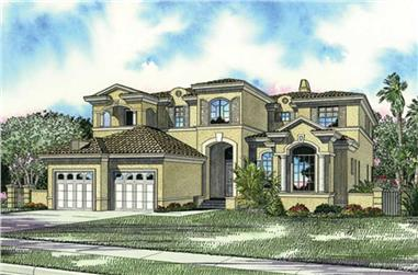 4-Bedroom, 5056 Sq Ft Mediterranean Home Plan - 107-1102 - Main Exterior