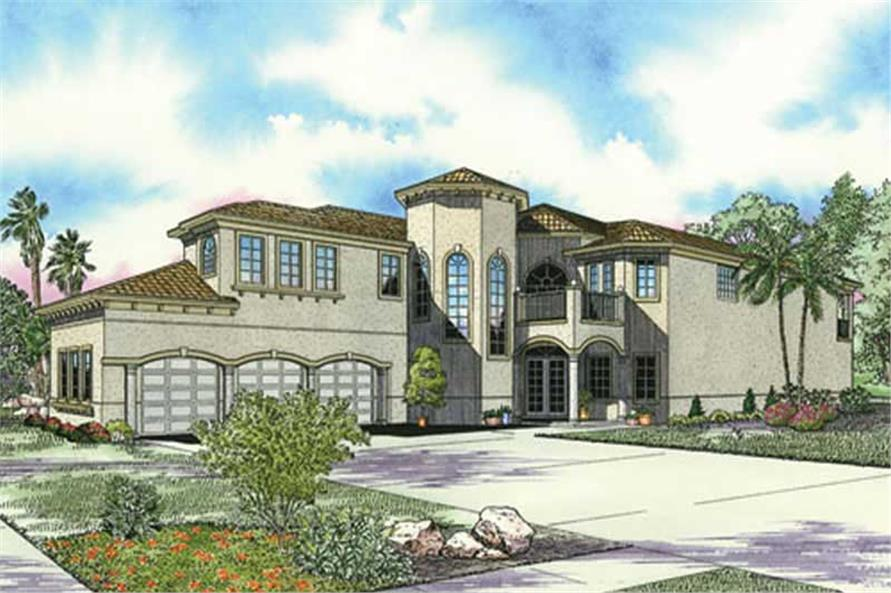 5-Bedroom, 4994 Sq Ft Mediterranean Home Plan - 107-1103 - Main Exterior
