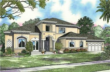 4-Bedroom, 4108 Sq Ft Mediterranean Home Plan - 107-1104 - Main Exterior