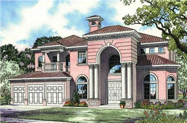4-Bedroom, 4289 Sq Ft Mediterranean Home Plan - 107-1105 - Main Exterior