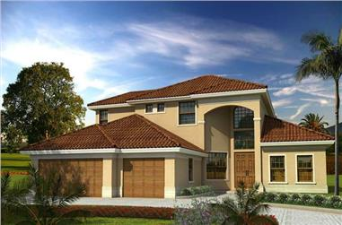 3-Bedroom, 3267 Sq Ft Mediterranean House Plan - 107-1110 - Front Exterior
