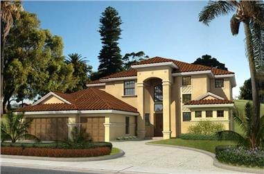 4-Bedroom, 3497 Sq Ft Mediterranean House Plan - 107-1111 - Front Exterior