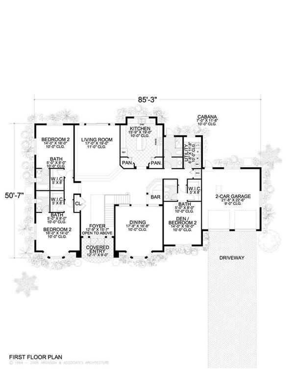 This image shows the living and dining areas of the first floor plan.