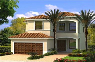 4-Bedroom, 2363 Sq Ft Mediterranean Home Plan - 107-1115 - Main Exterior