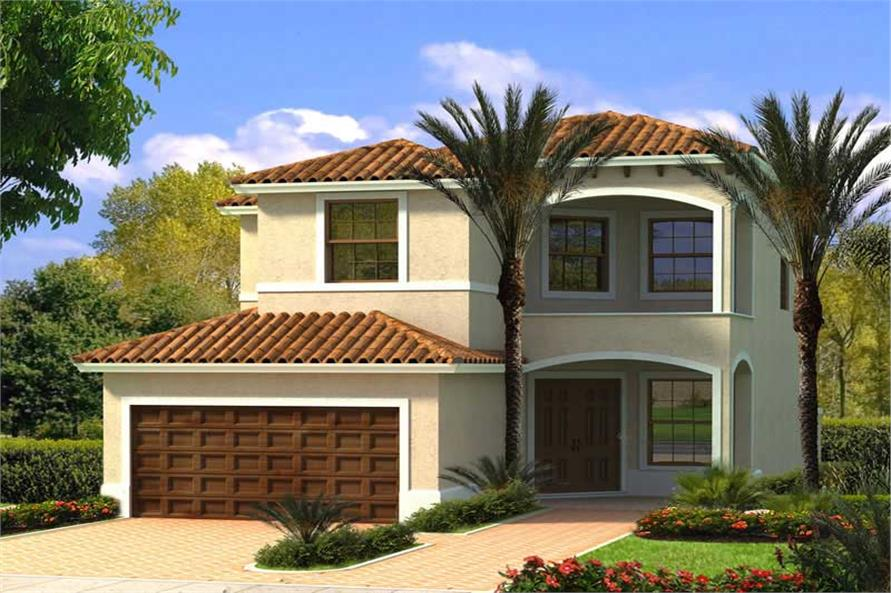 4-Bedroom, 2363 Sq Ft Mediterranean Home Plan - 107-1115 - Main Exterior