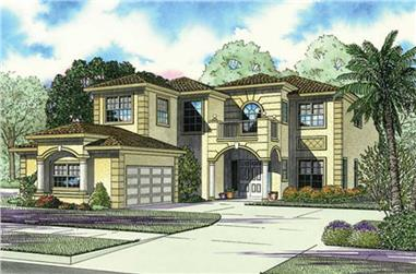 4-Bedroom, 4731 Sq Ft Mediterranean Home Plan - 107-1117 - Main Exterior