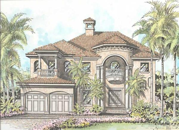 This image shows the mediterranean style of the house plan.