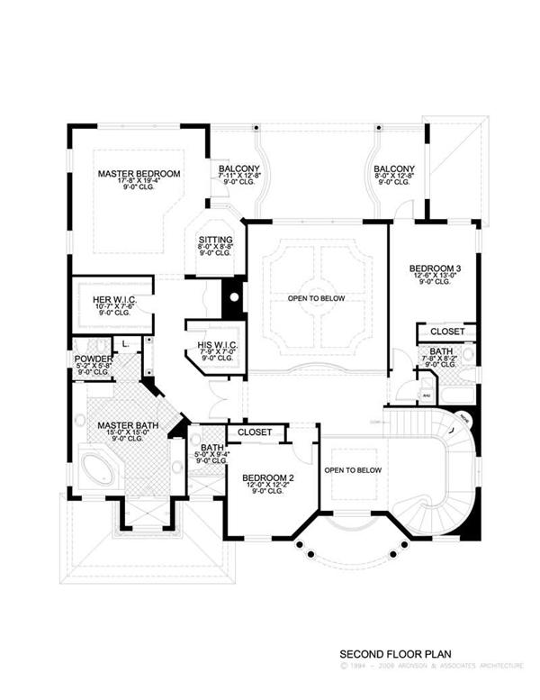This image shows the living areas of the upper floor of the house plan.
