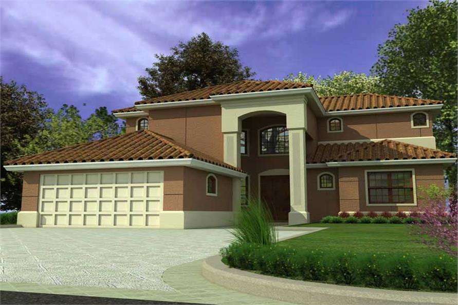 4-Bedroom, 3250 Sq Ft Mediterranean House Plan - 107-1123 - Front Exterior