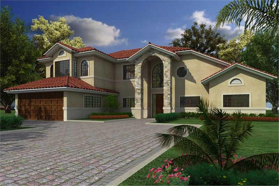 4-Bedroom, 3110 Sq Ft Mediterranean House Plan - 107-1126 - Front Exterior