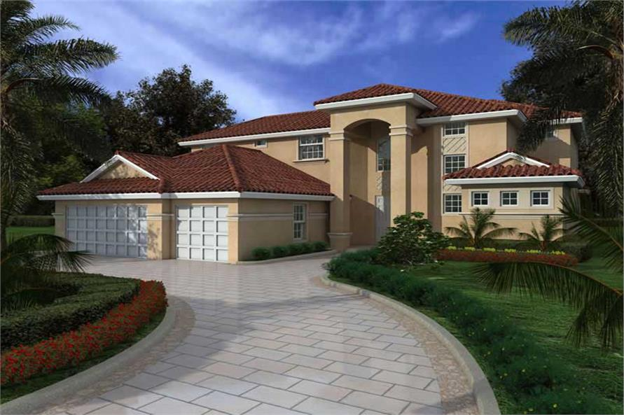 4-Bedroom, 3956 Sq Ft Mediterranean Home Plan - 107-1127 - Main Exterior