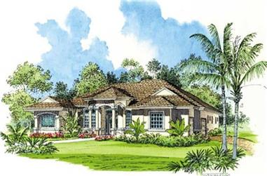4-Bedroom, 3442 Sq Ft Mediterranean Home Plan - 107-1129 - Main Exterior