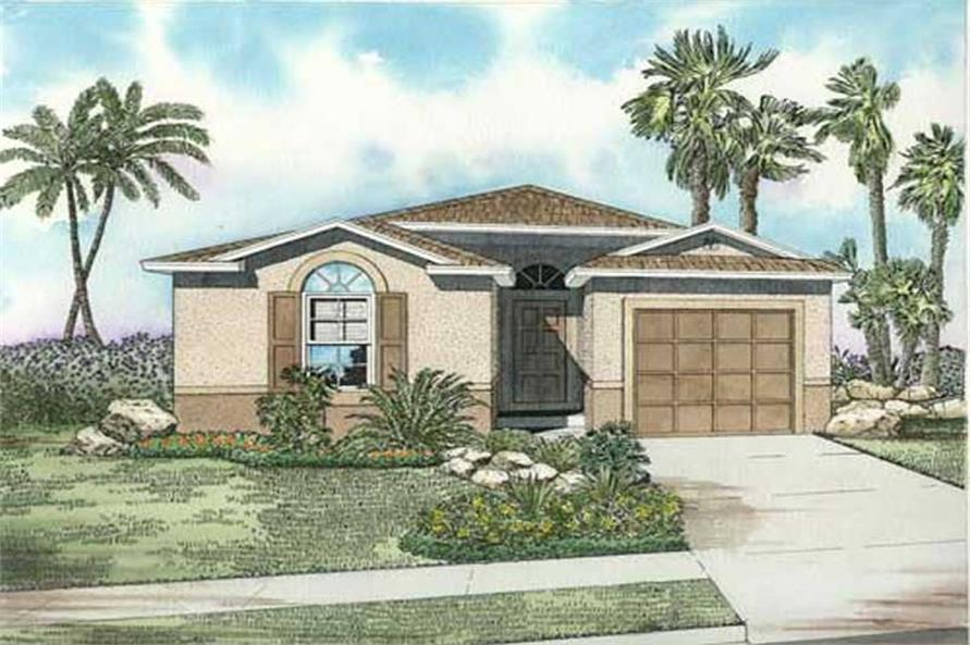 3-Bedroom, 1407 Sq Ft Mediterranean Home Plan - 107-1130 - Main Exterior