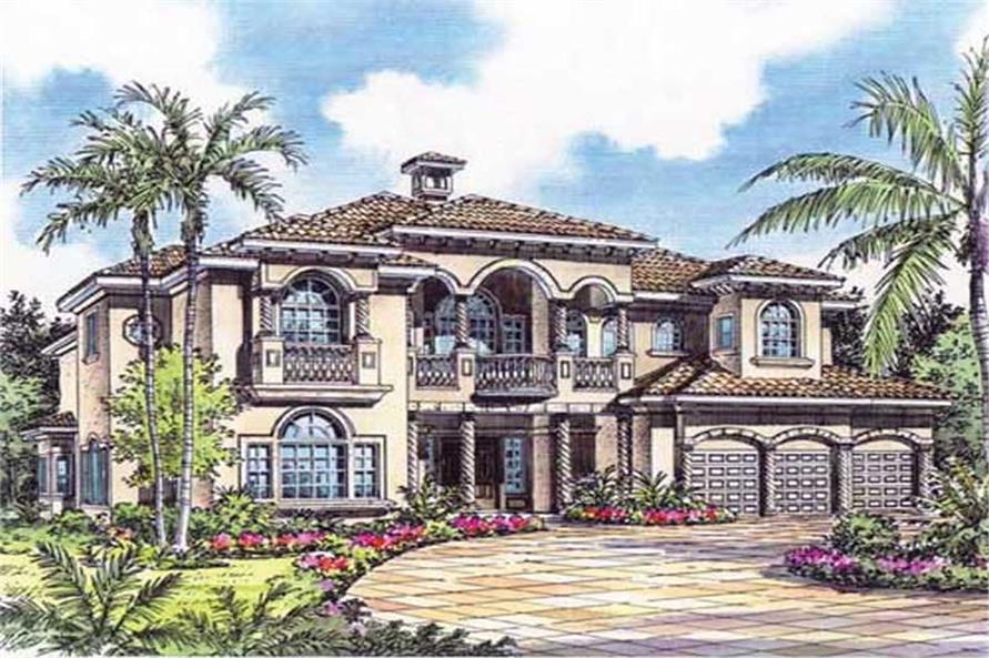 4-Bedroom, 5574 Sq Ft Mediterranean Home Plan - 107-1133 - Main Exterior