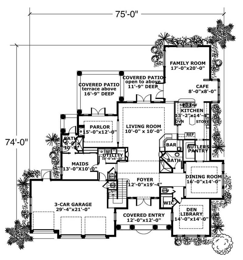 This image shows the living and dining areas of the main floor of the house plan.