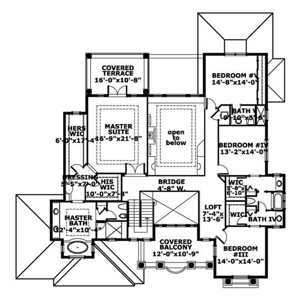 This image shows the living areas of the upper floor of the houseplan.