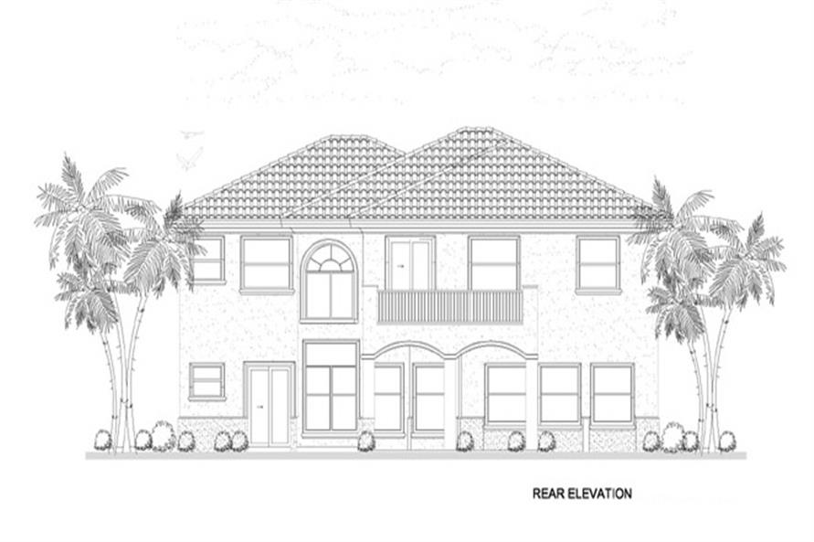 Home Plan Rear Elevation of this 5-Bedroom,4688 Sq Ft Plan -107-1134