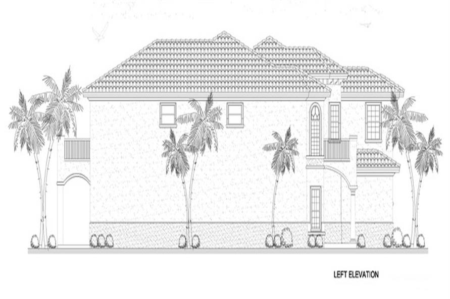 Home Plan Left Elevation of this 5-Bedroom,4688 Sq Ft Plan -107-1134