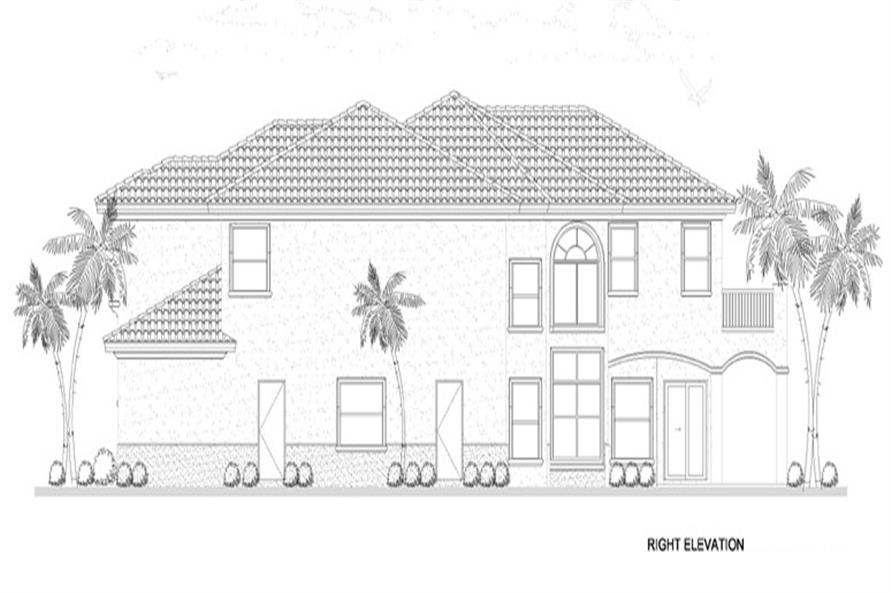 Home Plan Right Elevation of this 5-Bedroom,4688 Sq Ft Plan -107-1134