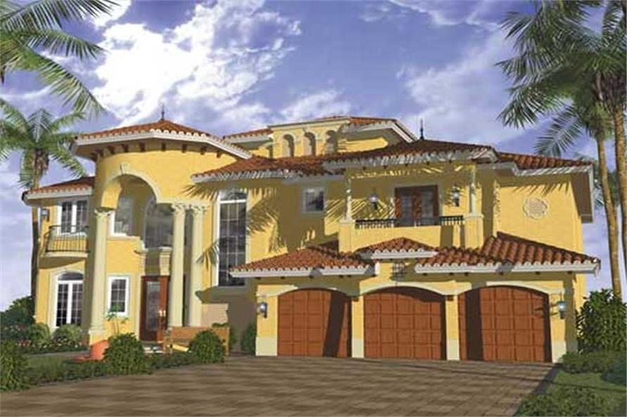 Home Plan Front Elevation of this 5-Bedroom,6075 Sq Ft Plan -107-1135