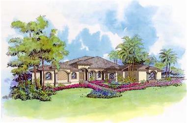 4-Bedroom, 4253 Sq Ft Mediterranean Home Plan - 107-1137 - Main Exterior