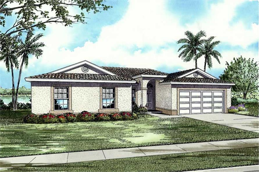 4-Bedroom, 1803 Sq Ft Mediterranean House Plan - 107-1138 - Front Exterior