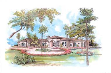 3-Bedroom, 3249 Sq Ft Mediterranean House Plan - 107-1140 - Front Exterior
