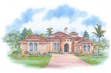 3-Bedroom, 3446 Sq Ft Mediterranean House Plan - 107-1142 - Front Exterior