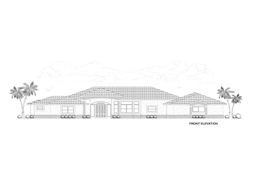 Home Plan Front Elevation of this 4-Bedroom,3568 Sq Ft Plan -107-1145