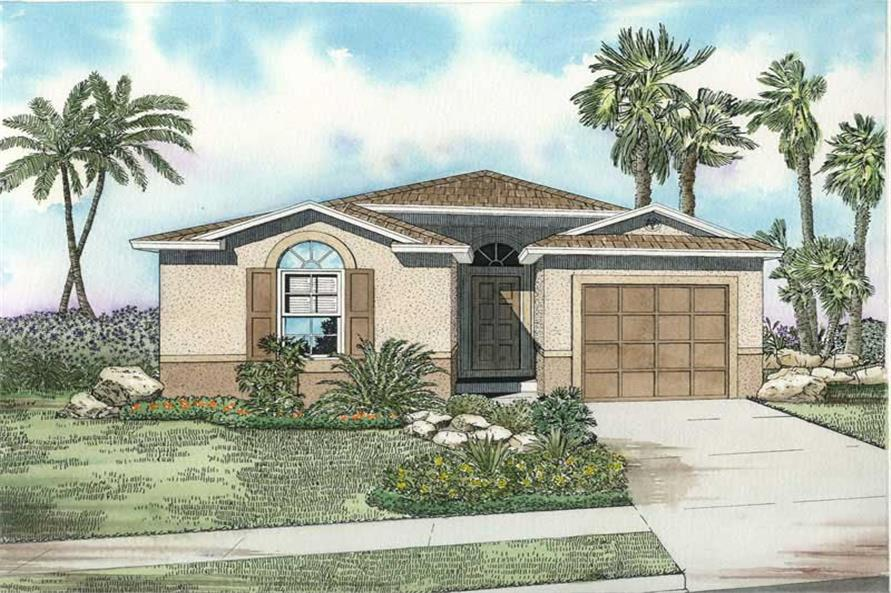 3-Bedroom, 1551 Sq Ft Mediterranean Home Plan - 107-1146 - Main Exterior