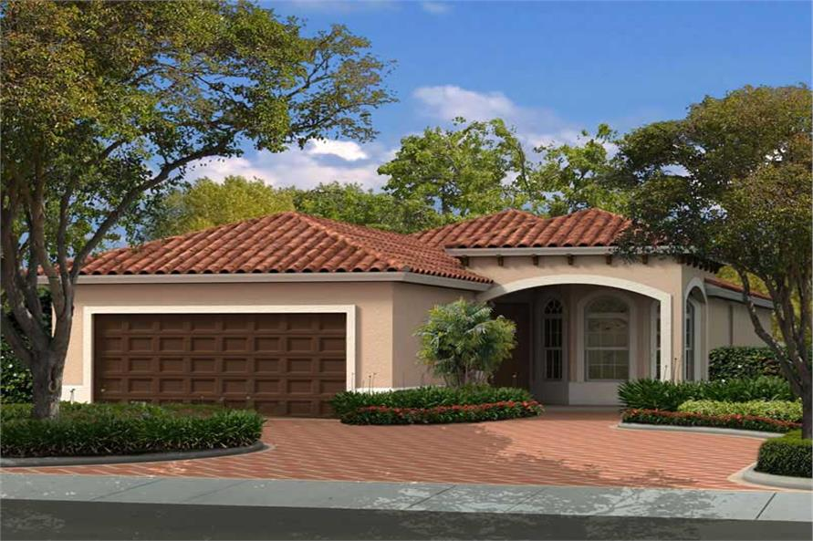 3-Bedroom, 1552 Sq Ft Mediterranean Home Plan - 107-1147 - Main Exterior