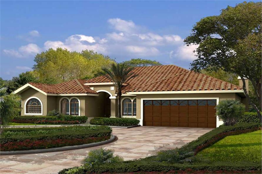 4-Bedroom, 2762 Sq Ft Mediterranean House Plan - 107-1148 - Front Exterior
