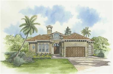 3-Bedroom, 3446 Sq Ft Mediterranean House Plan - 107-1150 - Front Exterior