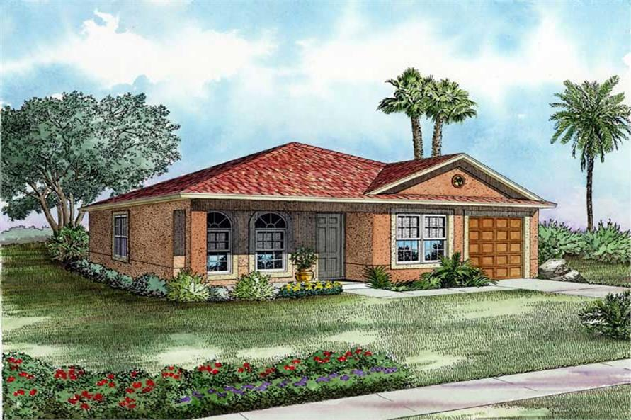 3-Bedroom, 1243 Sq Ft Mediterranean Home Plan - 107-1153 - Main Exterior