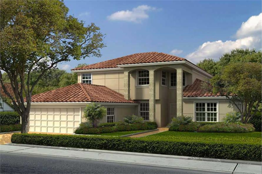 4-Bedroom, 3038 Sq Ft Mediterranean House Plan - 107-1154 - Front Exterior