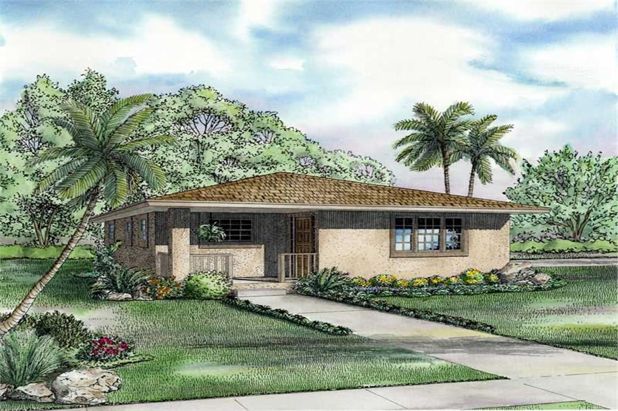 2-Bedroom, 1052 Sq Ft Mediterranean Home Plan - 107-1155 - Main Exterior