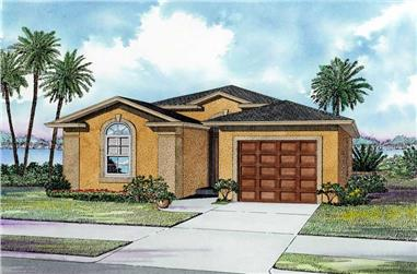 3-Bedroom, 1281 Sq Ft Mediterranean Home Plan - 107-1158 - Main Exterior