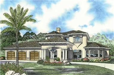4-Bedroom, 5135 Sq Ft Mediterranean House Plan - 107-1168 - Front Exterior