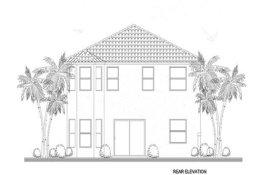 Home Plan Rear Elevation of this 5-Bedroom,2647 Sq Ft Plan -107-1169