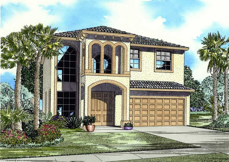 Mediterranean home with 5 bdrms 2647 sq ft house plan for Two story mediterranean house plans