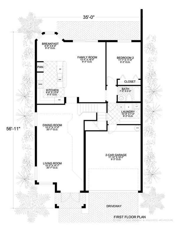 This image shows the living and dining areas of the main floor plan.