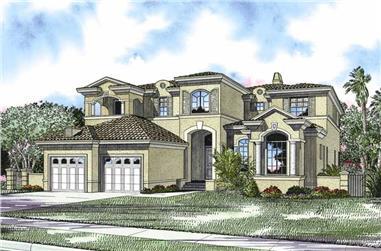 5-Bedroom, 5056 Sq Ft Mediterranean House Plan - 107-1173 - Front Exterior