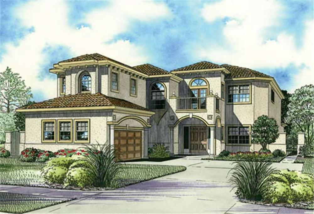 Front elevation of Mediterranean home (ThePlanCollection: House Plan #107-1175)
