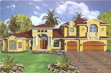 4-Bedroom, 5037 Sq Ft Mediterranean House Plan - 107-1176 - Front Exterior