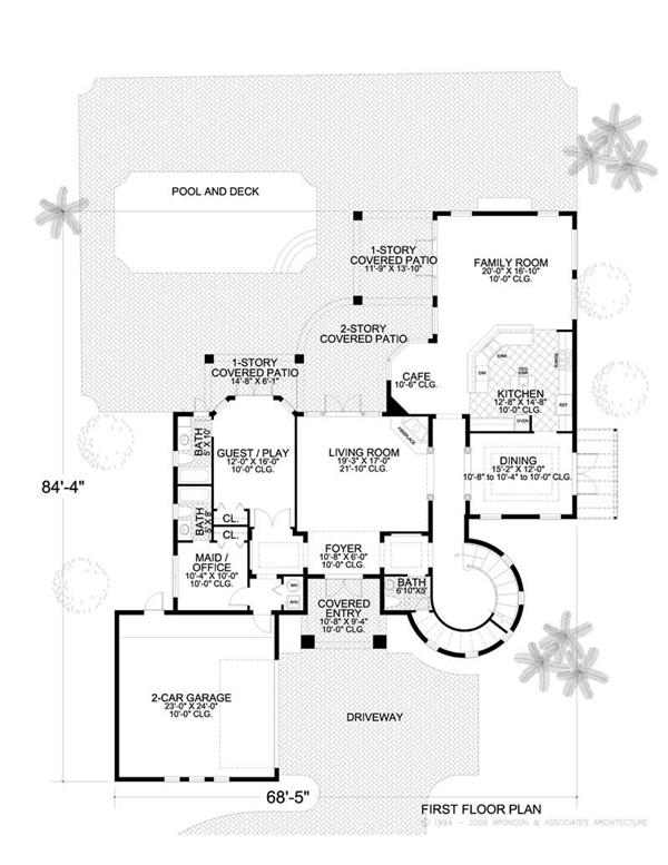This image shows the living and dining areas of the main floor of the home plan.