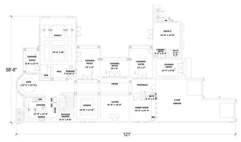 This image shows the living and dining areas of the home plan.