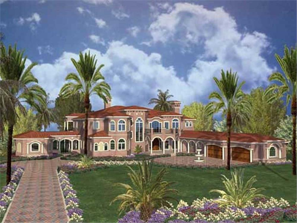 Front elevation of Luxury home (ThePlanCollection: House Plan #107-1189)