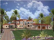 This image shows the front elevation of these Luxury House Plans, Beachfront Plans, Coastal Floor Plans, Mediterranean Houseplans, Spanish Style Home Design, Concrete-Block/IFC Design Blueprints.
