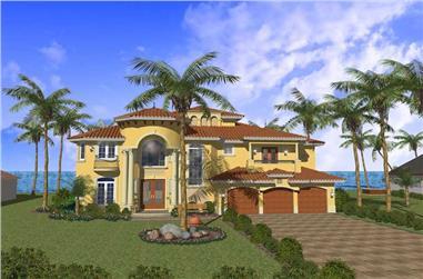 5-Bedroom, 5066 Sq Ft Mediterranean House Plan - 107-1191 - Front Exterior